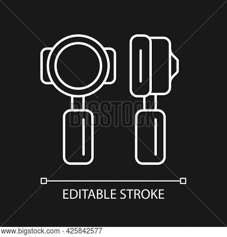 Portafilter White Linear Icon For Dark Theme. Professional Tool For Cafe. Barista Accessories. Thin