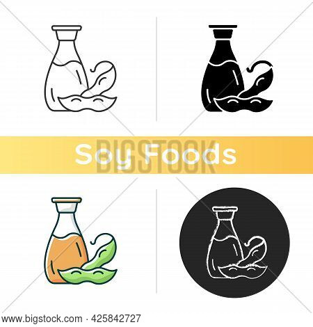 Soy Sauce Icon. Salty Ingredient Added To Meals. Vegeterian Foods Types. Liquids Used To Improve Fla