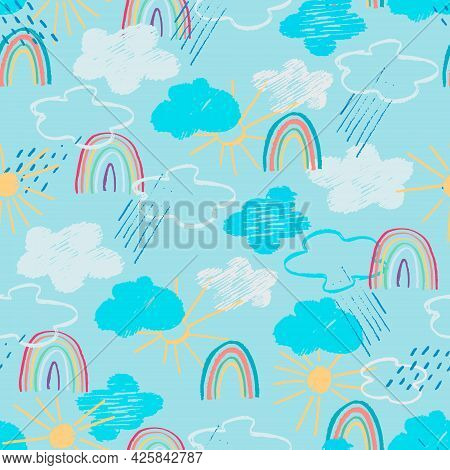 Seamless Pattern With Blue Sky, White Clouds, Rainy Clouds, Rainbow, Sun In Childs Drawing Style
