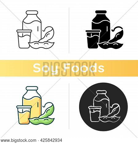 Soy Milk Icon. Plant Based Milk. Grinding Beans. Vegeterian Drinks Types. Healthy Product Creation.