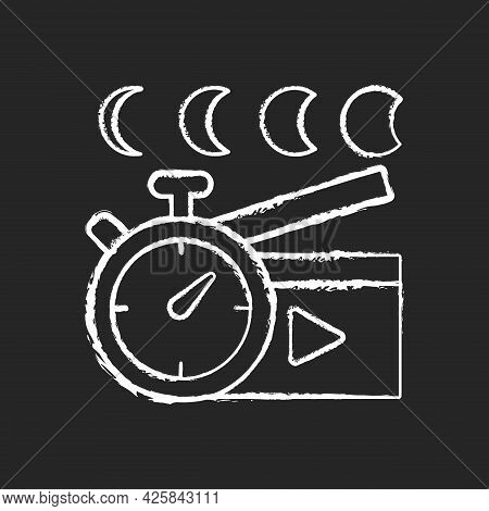 Time Lapse Videos Chalk White Icon On Dark Background. Shooting Footage Over Night. Clock With Time