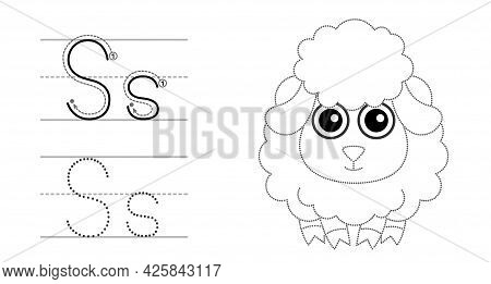 Trace The Letter And Picture And Color It. Educational Children Tracing Game. Coloring Alphabet. Let
