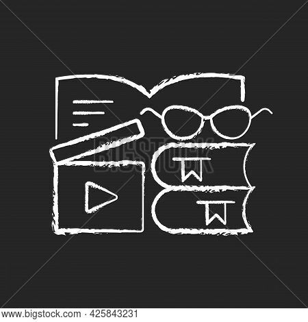 Book Review Videos Chalk White Icon On Dark Background. Shooting Content For Literature Vlog. E Book