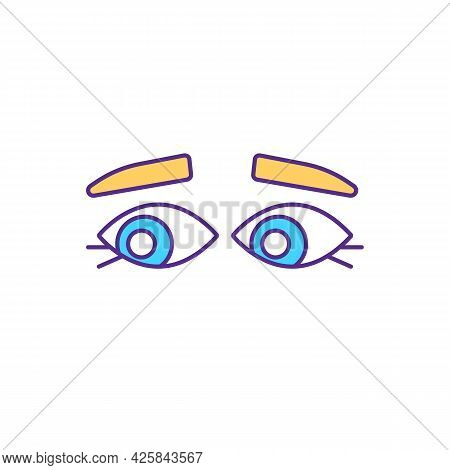 Eye Contact Lacking Rgb Color Icon. Looking Away While Talking. Isolated Vector Illustration. Avoidi