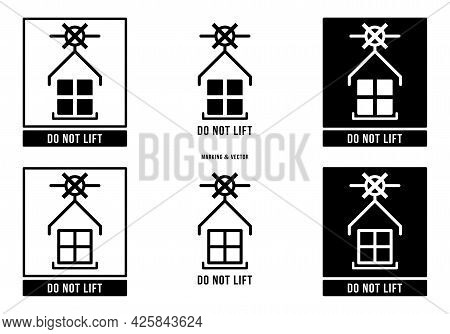 A Set Of Manipulation Symbols For Packaging Products And Goods. Marking - Do Not Lift. Vector Elemen