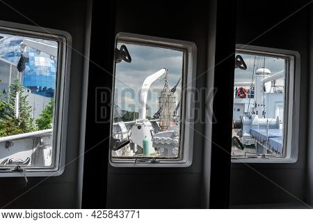 View Of The Deck From The Ship's Window. The Concept Of Travel And Tourism.