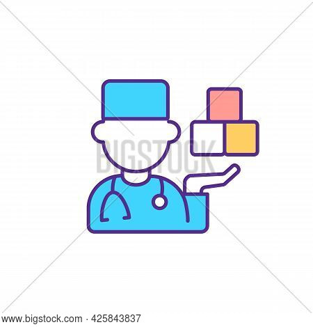 Specialist With Specialization In Autism Rgb Color Icon. Working With Mental And Physical Developmen