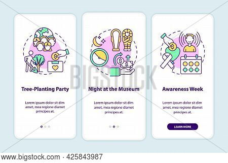 Fundraising Campaign Ideas Onboarding Mobile App Page Screen. Tree-planting Party Walkthrough 3 Step