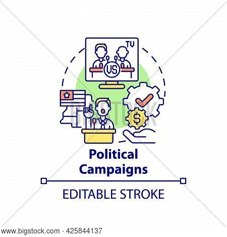 Political Campaigns Fundraiser Concept Icon. Fundraising Type Abstract Idea Thin Line Illustration.