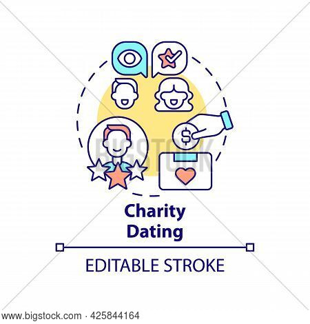Charity Dating Concept Icon. Fundraising Kind Abstract Idea Thin Line Illustration. Raising Money Fo