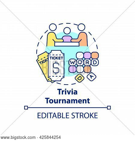 Trivia Tournament Fundraiser Concept Icon. Fundraising Appeal Abstract Idea Thin Line Illustration.