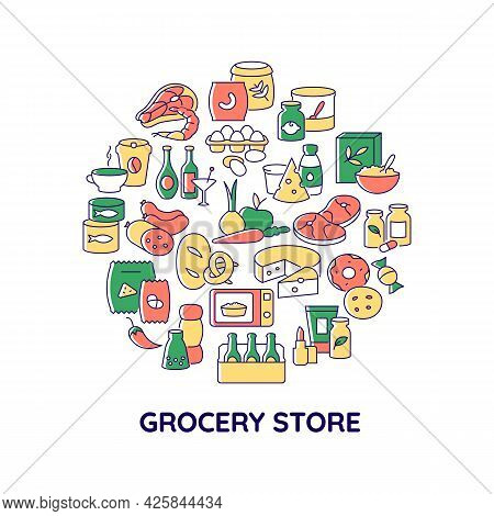 Grocery Products Abstract Color Concept Layout With Headline. Store Food For Sale. Dairy Products. S