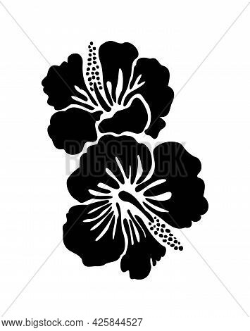 Hibiscus Flower Tropical Exotic Vector Tattoo Silhouette Drawing Illustration.hawaiian Floral Plant