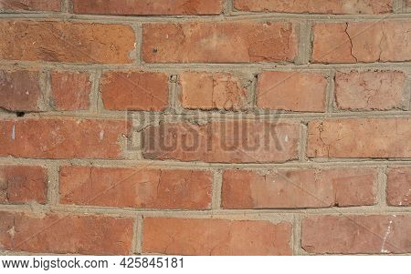 Brick Red Wall Background Of A Old Brick House Red Brick Pattern Old Brick Wall With Cracks And Scra