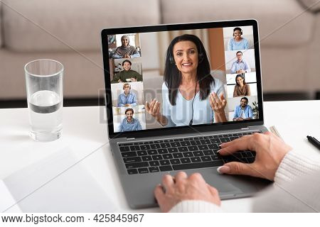 Online Briefing Concept. Group Of Multiracial Business People Having Web Chat Together