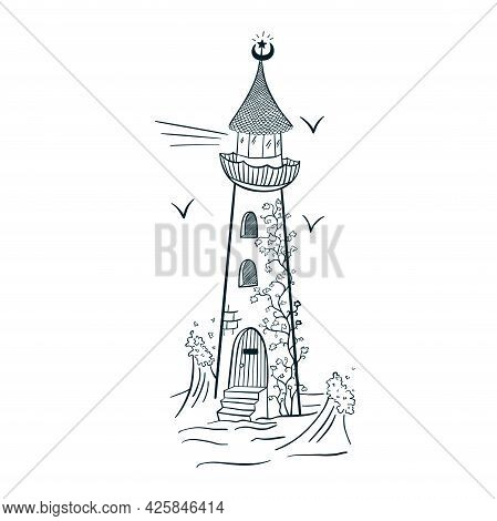Lighthouse With Ivy Engraving Style Line Art Isolated Vector Illustration
