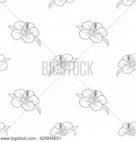 Line Art Tropical Hibiscus Flowers Seamless Pattern. Flowers Repeated Illustration For Backdrop, Wra