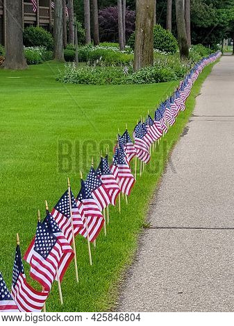 Row Of American Flags On Green Lawn In Front Yard