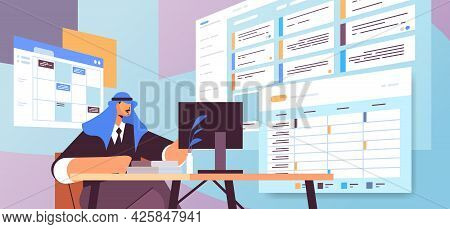Arab Businessman At Workplace Planning Day Scheduling Appointment In Online Calendar App Agenda Meet