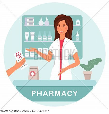 A Pharmacist At A Pharmacy Dispenses A Prescription Medication To A Client. The Patient Buys The Tab