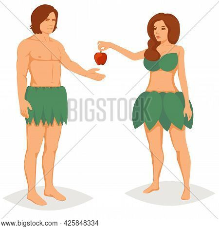 Adam And Eve In Paradise, Vector Illustration