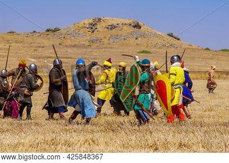 Lavi, Israel - July 02, 2021: Re-enactment Of The 1187 Battle Of The Horns Of Hattin (ayyubid Sultan