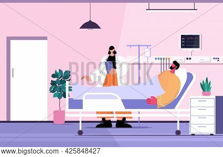 Nurse Taking Care Of Sick Man Patient Lying In Hospital Bed Care Service Concept Clinic Ward Interio