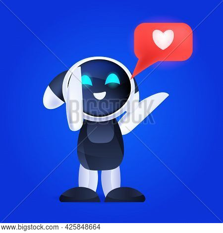 Cute Robot Cyborg With Social Media Like Icon Modern Robotic Character Artificial Intelligence Techn