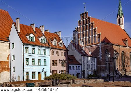 Latvia, Riga, March, 2021 - Ancient Gothic Architecture Near St. Peter`s Church In Riga Old Town, Ca