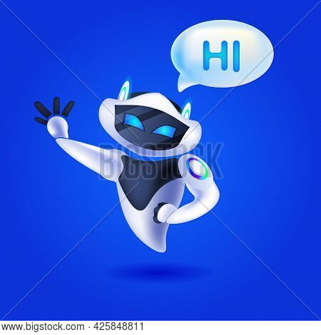 Cute Robot Cyborg With Hi Speech Chat Bubble Communication Chatbot Customer Service Artificial Intel