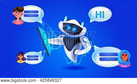 People Chatting With Chatbot Robotic Assistant Online Communication Artificial Intelligence Technolo