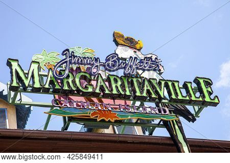 Grand Cayman, Cayman Islands - March 9, 2013:  The Sign For Jimmy Buffetts Margaritaville Hotel And