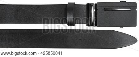 End Parts Of Belt With Automatic Buckle Isolated On White Background