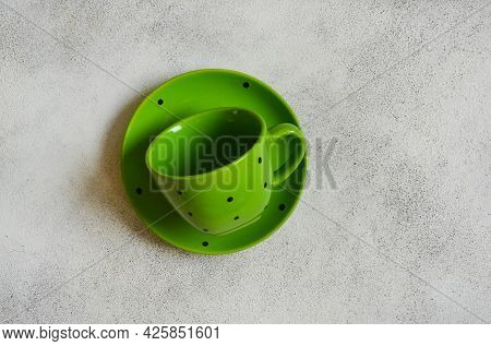 Eco Friendly Handmade Ceramic Tableware With Copy Space For Text And Design, Tea Pair, Green Cup And