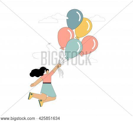 Woman Flies On Balloons. Flight To The Dream. Vector Illustration Isolated On White Background.