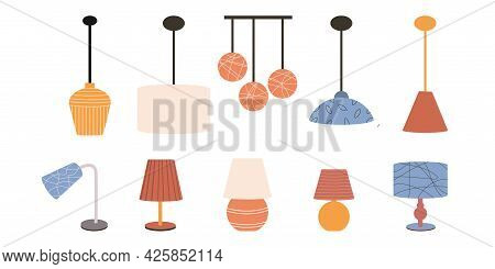 Set Of Lamps And Chandeliers On A White Background. Chandelier And Table Lamp In Flat Style. Modern