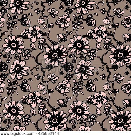 Pink Daisies, Dahlias Flower Seamless Pattern On Beige, Brown Background. Daisy Field. Ditsy Floral