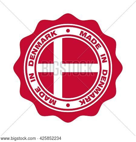 Print With Flag Of Denmark And  Text