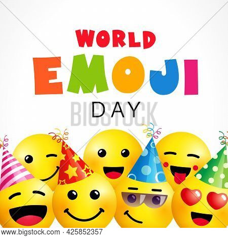 World Emoji Day, Smile Square Banner Template. July 17th, World Emoji Day Text With Cute Emoticon Ic