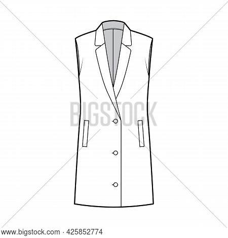 Sleeveless Jacket Lapelled Vest Waistcoat Technical Fashion Illustration With Button-up Closure, Poc