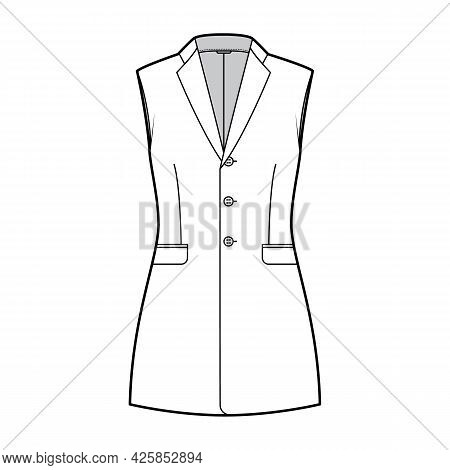 Sleeveless Jacket Lapelled Vest Waistcoat Technical Fashion Illustration With Notched Collar, Button