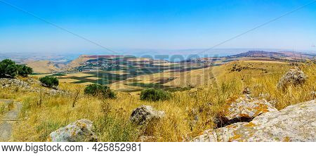 Panoramic View Of Countryside And The Sea Of Galilee From The Horns Of Hattin. Northern Israel