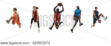 Sport Collage. Basketball Players In Motion Isolated On White Studio Background.
