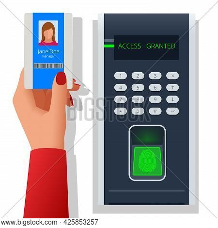 Finger Print Scan For Enter Security System, Biometric Access Control. Digital Touch Scan Identifica