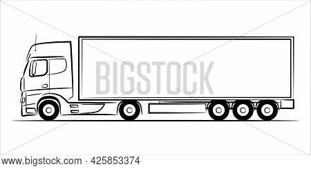 Semi Trailer Truck Abstract Silhouette On White Background.  A Hand Drawn Line Art Of A Trailer Truc