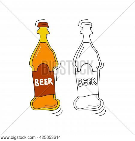 Beer On White Background. Two Kinds Beverage. Cartoon Sketch Graphic Design. Doodle Style With Black