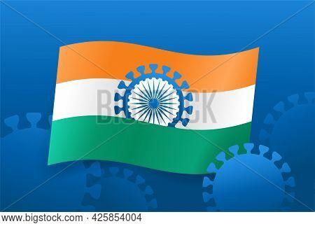 Indian Strain Of Covid-19 Disease - National Lockdown Due To Coronavirus Crisis. Vector Illustration