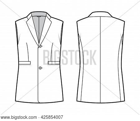 Sleeveless Jacket Lapelled Vest Waistcoat Technical Fashion Illustration With Notched Collar, Single