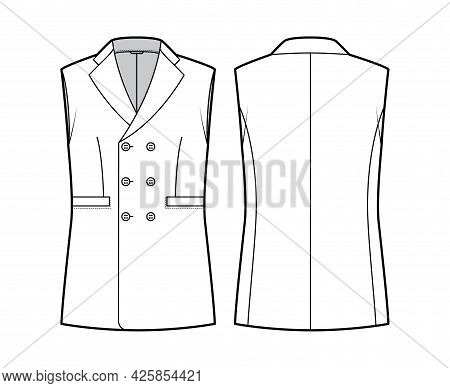 Sleeveless Jacket Lapelled Vest Waistcoat Technical Fashion Illustration With Double Breasted, Butto