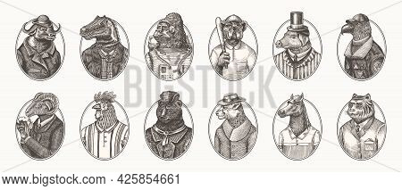 Gorilla Monkey Astronaut. Eagle Aviator Pilot Rooster Dinosaur Pig Tiger Bear Sheep Buffalo Bull Hor